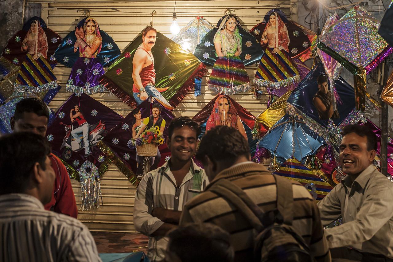 Kite markets for Makar Sankranti in Gujarat, India