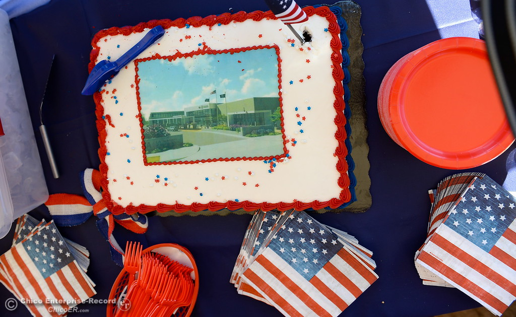 . A cake with a rendition of what the new facility will look like is seen during a groundbreaking ceremony for the Chico VA Outpatient Clinic at 2000 Concord Ave. in Chico, Calif. Thursday June 29, 2017.  (Bill Husa -- Enterprise-Record)