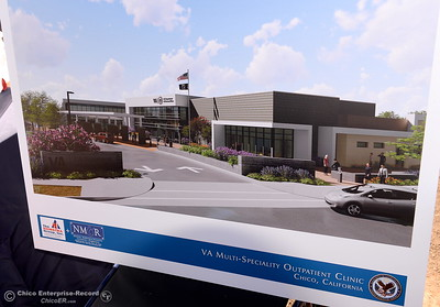Renditions of what the new facility will look like are on display during a groundbreaking ceremony for the Chico VA Outpatient Clinic at 2000 Concord Ave. in Chico, Calif. Thursday June 29, 2017.  (Bill Husa -- Enterprise-Record)