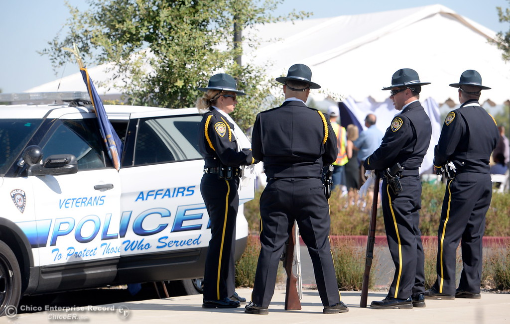 . The Veterans Affairs Police Color Guard await their duties during a groundbreaking ceremony for the Chico VA Outpatient Clinic at 2000 Concord Ave. in Chico, Calif. Thursday June 29, 2017.  (Bill Husa -- Enterprise-Record)