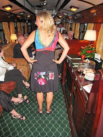 Charlotta's dress, going, Rovos Rail, S. Africa