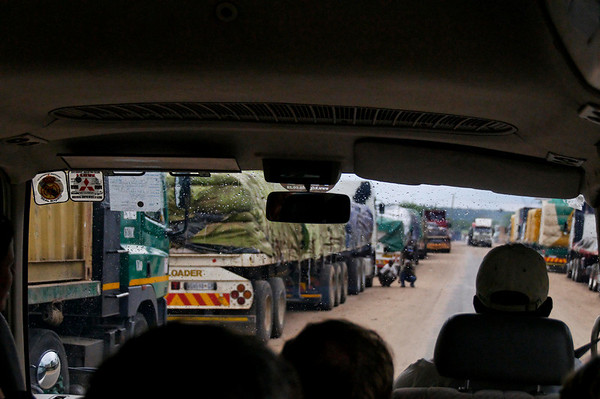 trucks lined up for 5 days to cross one at a time, Zambia