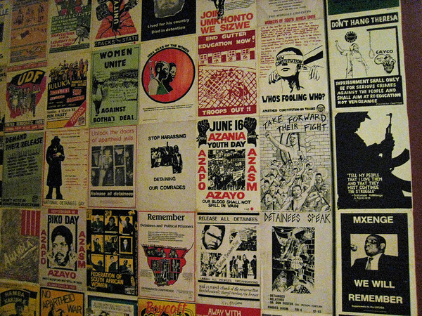 posters from the era, Apartheid Museum, Johannesburg, S. Africa