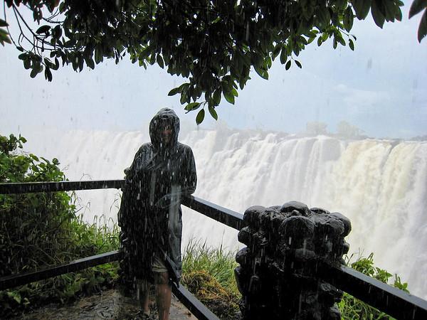 Suzanne under there somewhere, Victoria Falls, Zambia