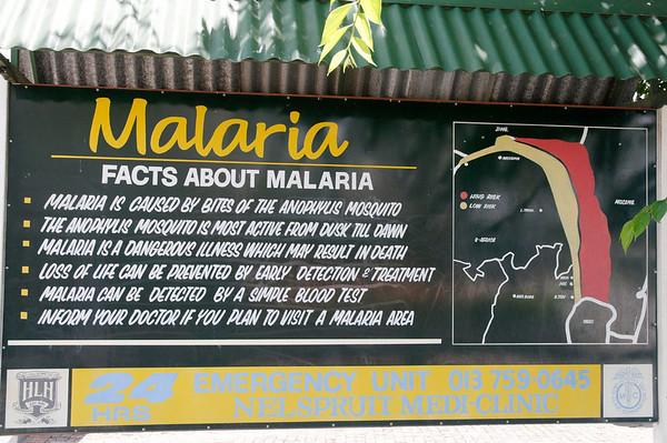 Malaria warning, Nelspruit, S. Africa