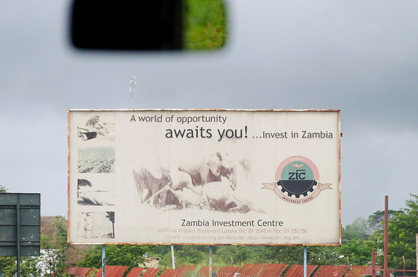 signs along the road to Livingstone, Zambia