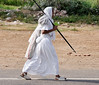 Jain nuns walking alongside freeway to Agra