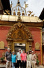 The whole group at the Golden Gate, Durbar Square, Bhaktapur Nepal