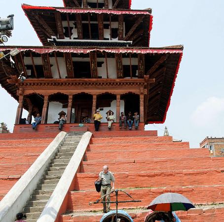 Steep steps, Maju Dega, Hanuman-dhoka Durbar Square, Kathmandu Nepal