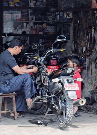 Popular pastime of bike repair, Kathmandu Nepal