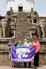 Four locals and a flag, Siddhi Lakshimi Temple, Durbar Square, Bhaktapur Nepal