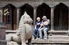 Sherry and John waiting for lunch, Patan Durbar Square, Lalitpur (Patan) Nepal