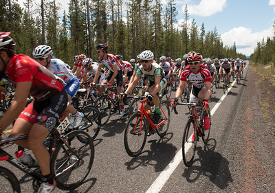 Racers in the Central Oregon Bicycle race around Mount Bachelor.