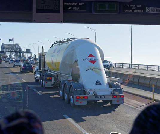 Headed across the Auckland Harbor Bridge on one of the Nipon Clipons