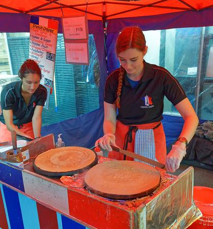 Making crepes, La Cigale Market