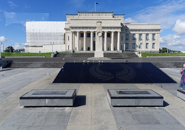 The Auckland Museum - waterfall with silver fern emblem