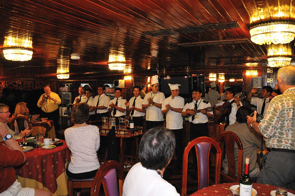 Farewell dinner with Captain Joe & his crew, Gallito, The Amazon River, Peru