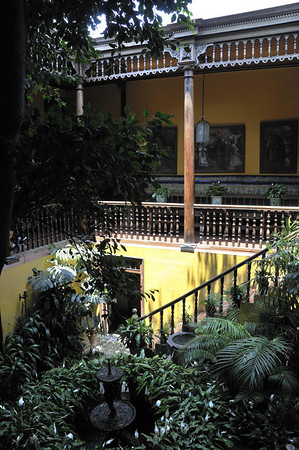 Interior courtyard in the Aliaga home, Lima, Peru