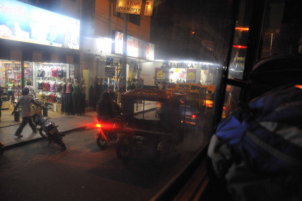 Night scenes in Iquitos from the bus