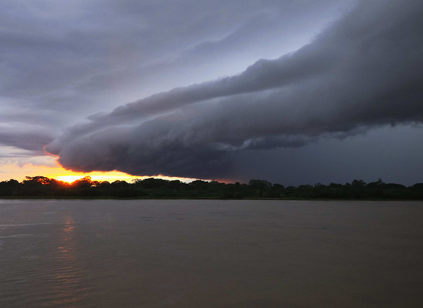 Magnificent sunset, Gallito, The Amazon River, Peru