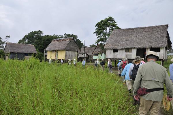 Entering Libertad, a matriarchal village, Rio Ucayali, Peru
