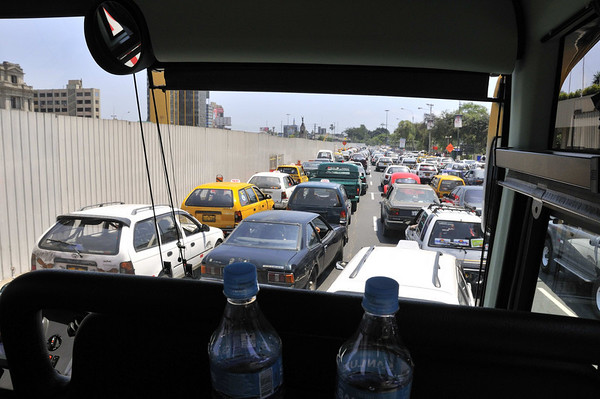 Just a taste of the traffic, on our way to Puro Peru, Lima, Peru
