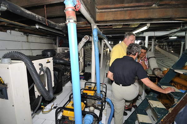 Ray, Anne, & Robinson try to communicate through the noise, La Amatista engine room tour, Gallito, The Amazon River, Peru