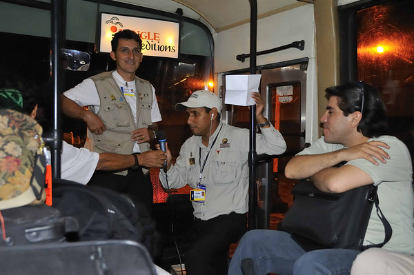 Robinson Rodriguez Novea, George Davila (the Amazon nature guides), & Jorge Salas-Guevara (the IE overall guide and el jefe) on the bus (the only air-conditioned one in Iquitos) to the ship