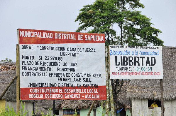 Arrival at Libertad, established in 1964, Rio Ucayali, Peru