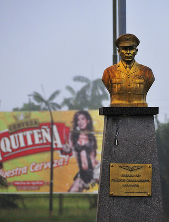 Memorial and beer sign, Iquitos airport, Peru