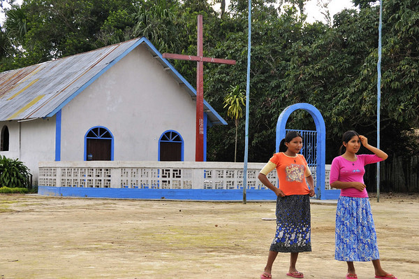 The church - all of the dwellings looked to be in better condition than in previous villages, La Reforma, Rio Tapiche, Peru