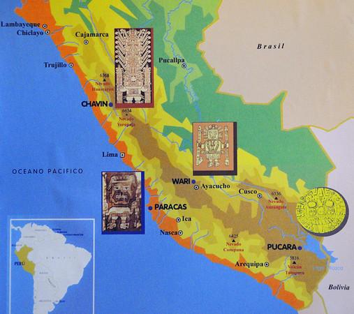 map of the pre-Incan cultures, Archealogical Museum, Lima, Peru