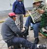 shoe shine, from the bus, Cusco, Peru