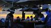 sunset reflected in restaurant window, Lima, Peru