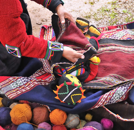 Yarn and baby carrying blanket, Willoq Community, Peru
