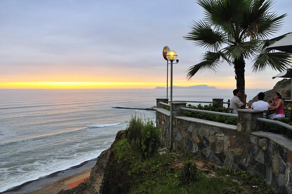 sunset, beach, and dining, Lima, Peru