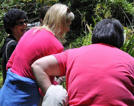 Now Rita, what's so funny about orchids?,12-acre nature trail, Inkaterra Hotel, Aguas Calientes, Peru