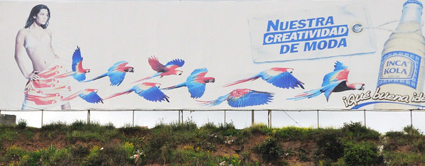 """""""Our creative fashion, what a good idea"""", from the bus at the airport, Cusco, Peru"""