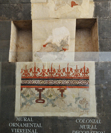 only surviving plaster mural from colonial times (Incan walls were decorated by the Catholic clergy), Qorikancha, Cusco, Peru