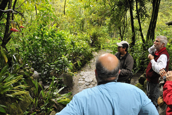 Dennis, the morning bird guide, and group, Inkaterra Hotel, Aguas Calientes, Peru