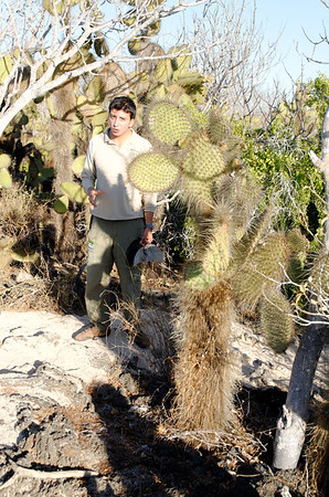 Hernán, our guide, and a species of prickly pear