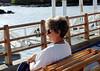 Suzanne waiting for the zodiac back to the ship, Santa Cruz Island
