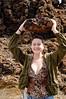 Jenny hoists the lava rock - pretty light