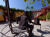Cartagena  Columbia - metal sculpture outside film museum, statue is the Columbian version of Oscar