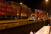 Hanjin Los Angeles Panamax freighter with the Variety Voyager waiting to rise in the lock