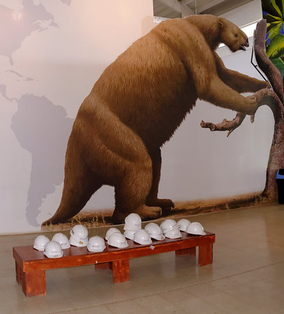 Giant sloth - musem is under construction so hard hats and vests were required