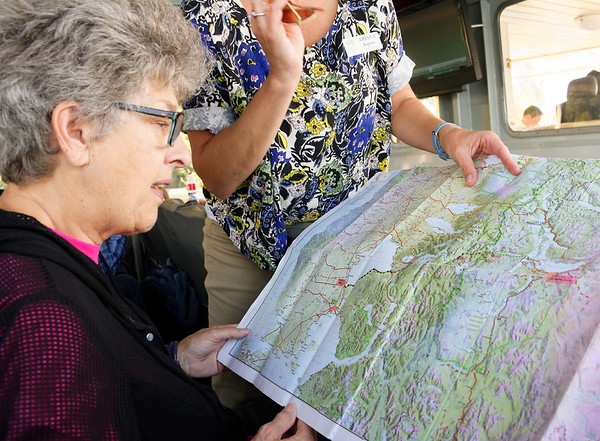 Crossing the Andes:  Suzanne and Ariana go over the crossing route