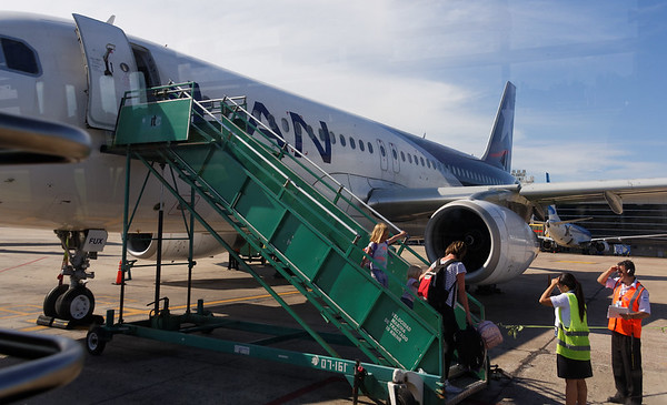 Boarding the flight from Bariloche to Buenos Aires