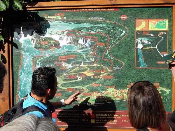 Iguazú Falls - Chris and map
