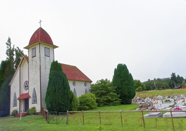 Crossing the Andes:  church on route around Lago Llanquihue